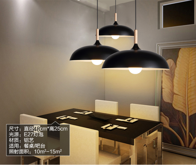 modern Nordic personality solid wood iron pendant light bar bedroom shop cafe restaurant lamp