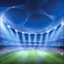 จุดLed Lightฟุตบอลสนามแพลตฟอร์มพื้นหลังผ้าไวนิลคอมพิวเตอร์พิมพ์ภาพฉากหลัง