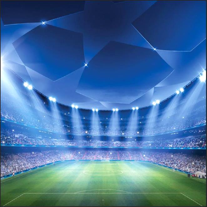 Puntos luz led fútbol campo estadio plataforma fondos vinilo tela ordenador impreso pared foto telón de fondo