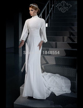 MZYW0204 white chiffon full long sleeve high neck mermaid top lace applique with hijab gelinlik muslim wedding gown