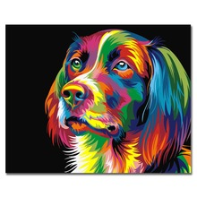 WEEN Colorful Dog-Painting By Number kit,DIY Painting by numbers,Home Decor Oil Picture Canvas,Acrylic Paint 40x50cm