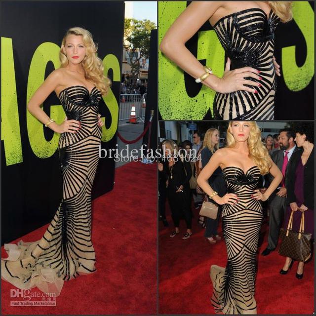 Único Olho-Captura de Blake Lively Celebrity Dresses 2017 ZAHY Real Imagens Querida Backless Da Sereia Vestido de Noite WL105