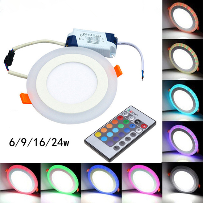 Hot Sale Round/Square RGB LED Panel Light + Remote Control 6w/9w/16w/24W Recessed LED Ceiling Panel Light AC85-265V+Driver