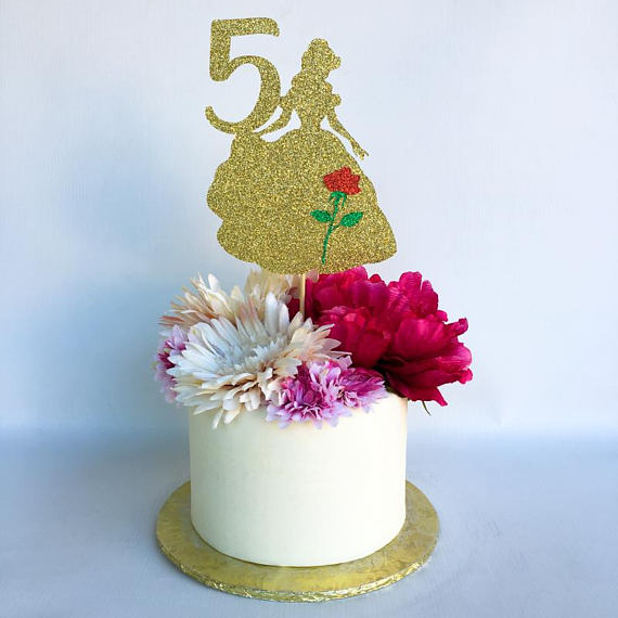 Aliexpress Buy Belle Cake Topper Glitter Topper Birthday Party Fascinating Belle Birthday Decorations