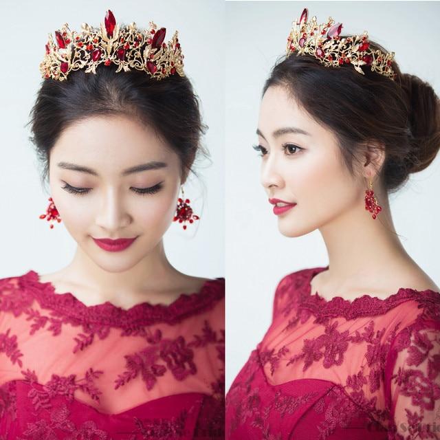 Women Vintage Rhinestone Crown Hairband Bridal Wedding Tiara Veil Hair Accessories Headpiece Red Crystal Dress Party