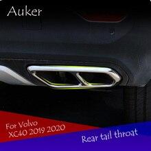 Car styling tylne gardło wydechowy Vent tylne rury pokrywa końcówka tłumika pokrywa garnitur wykończenia akcesoria dla Volvo XC40 2019 2020