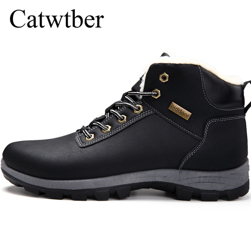 Catwtber 2018 Winter Fur Warm Male Boots For Men Casual Shoes Work Adult Quality Walking Rubber Brand Footwear Sneakers Footwear