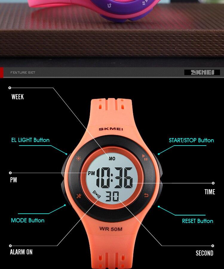 SKMEI Fashion Men Quartz Watch Children Digital Watch Big Dial Waterproof Parent-child Watches relogio masculino 9185 1455 Set 20