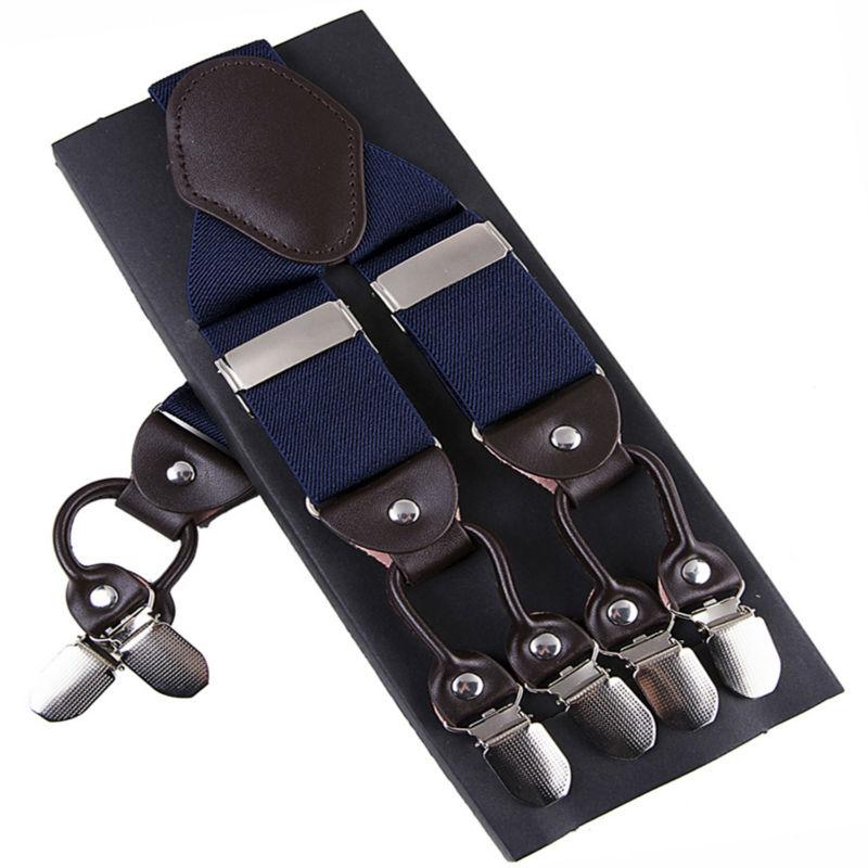 Bretelle di modo di cuoio della lega 6 clips Bretelle Maschio Dell'annata Casuale Pantaloni Cinghia suspensorio Padre/Marito Regalo di 3.5*120 cm
