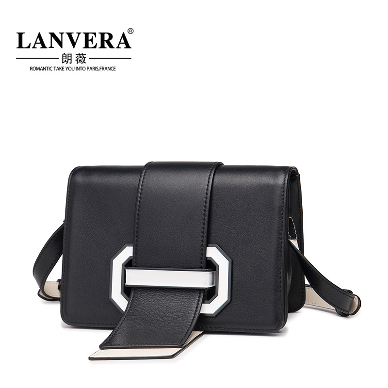 Messenger Bag Women High Quality Genuine Leather Crossbody Bag Small Female Korean Belt Buckle Shoulder Bags Handbag Black Beige mini ip camera wifi micro sd cctv security camera 720p wireless webcam audio surveillance hd night vision cam video telecamera