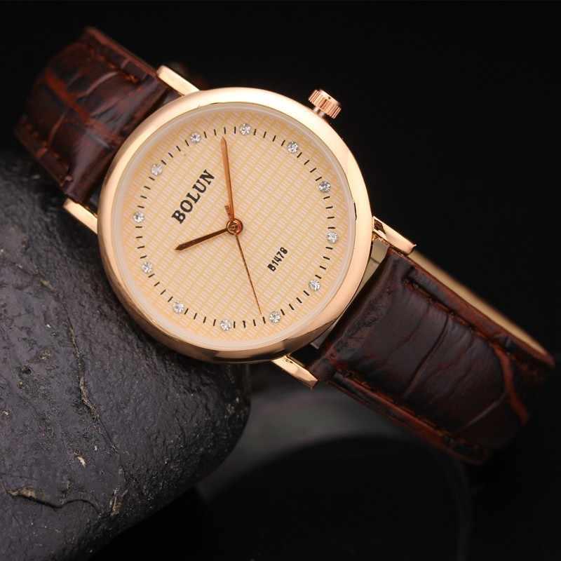 Relojes de lujo con diamantes de oro rosa para mujer reloj de cuero elegante para mujer reloj de pulsera Casual para mujer