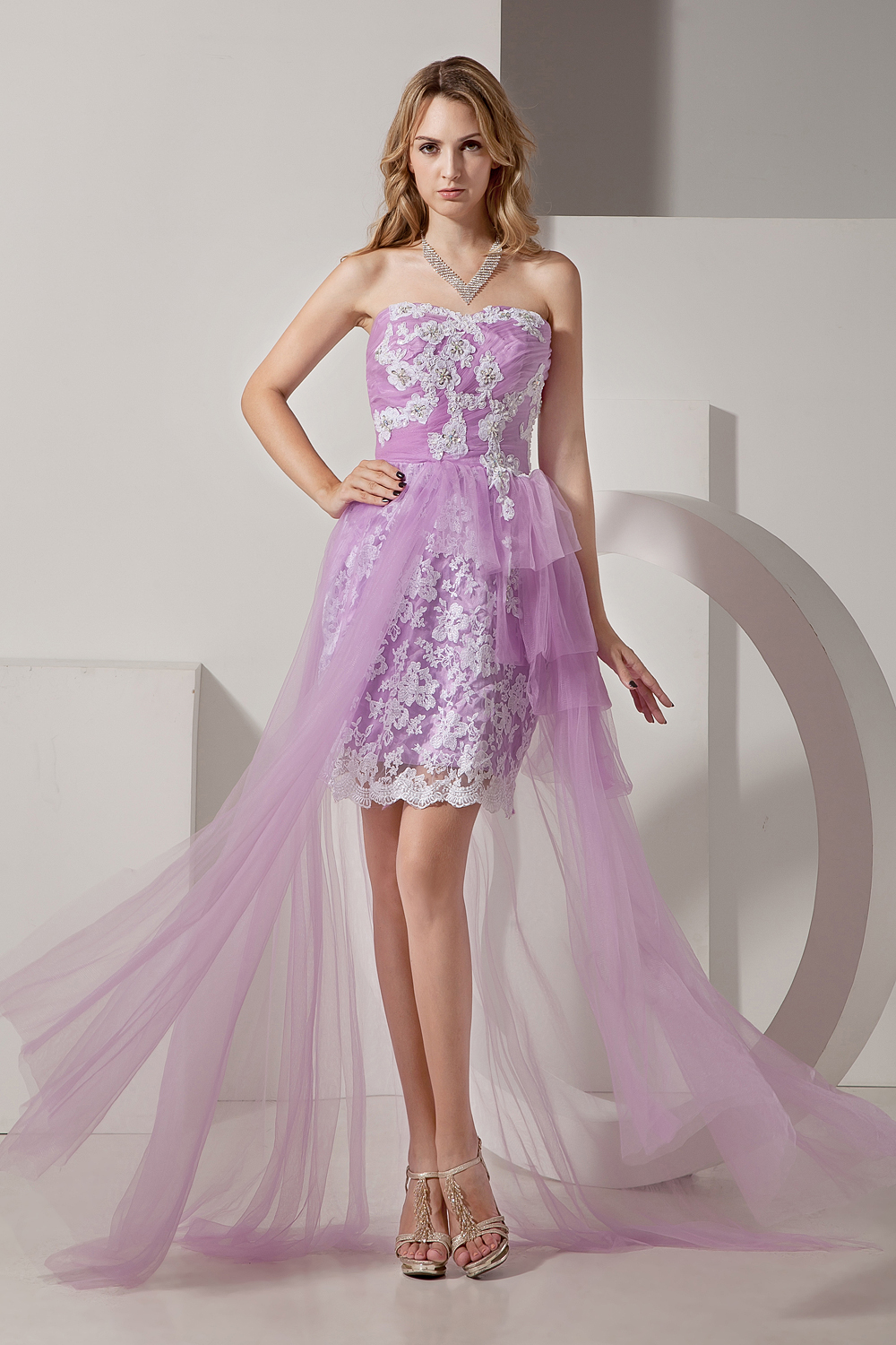 Beauty Emily appliques lace   Cocktail     Dress   tulle violet short prom   dresses   for evening party formal   dress   robe de soiree
