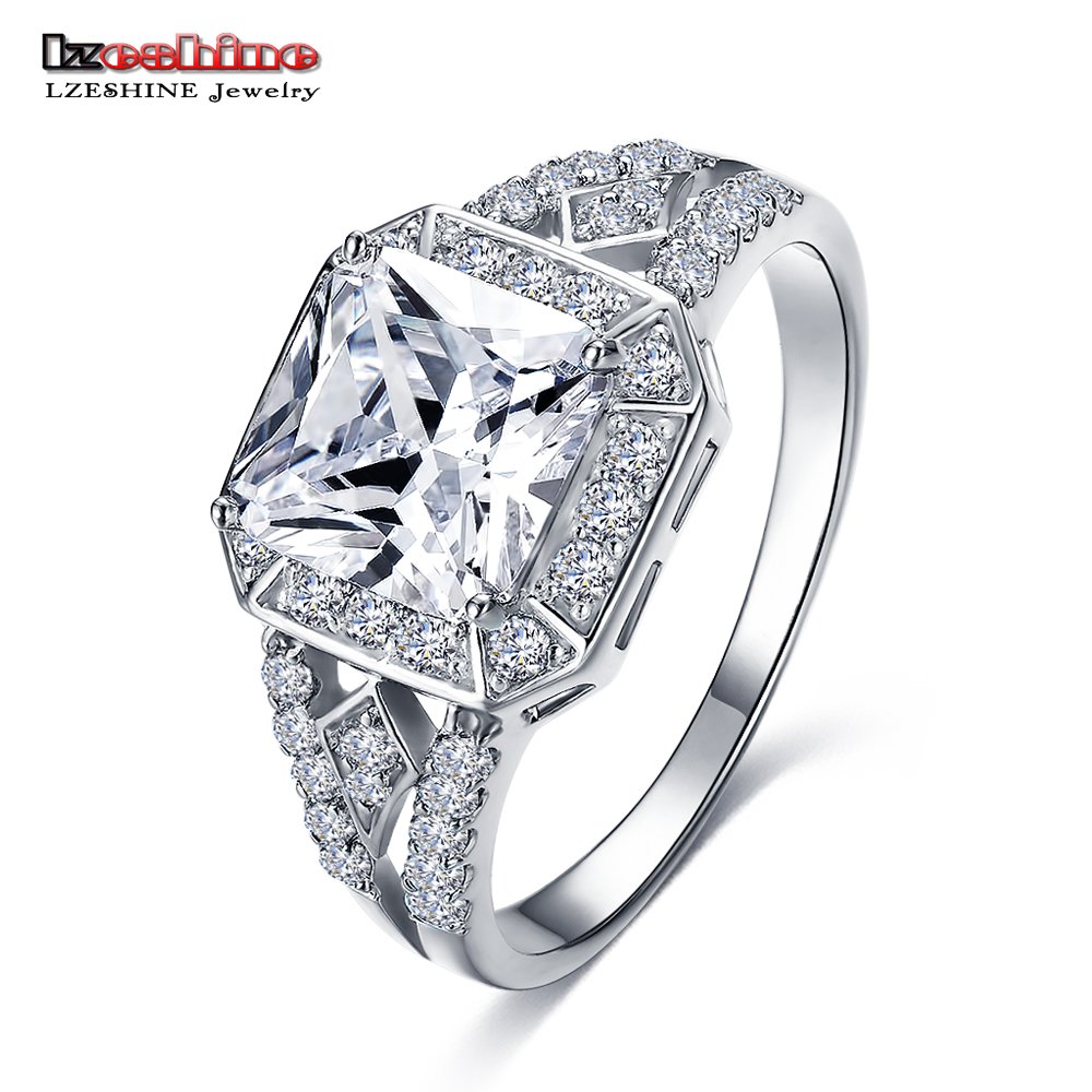 LZESHINE Big Promotion Exquisite Silver Color Micro Inlay Clear AAA Cubic Zircon Couple Knuckle Rings Anillos
