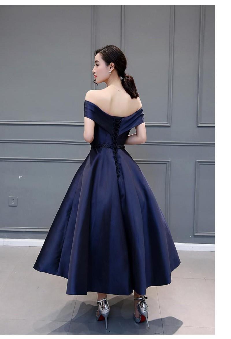 Navy Blue Taffeta Evening Dress 2016 New Formal Bow Sash Elegant ... 1c6aa90eead9