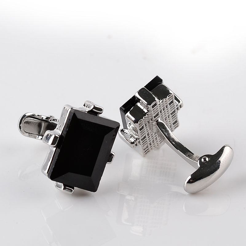 Modern Design Big Black Crystal Cufflinks Curve Men's Wedding Shirt Copper French Cuff Link(China)