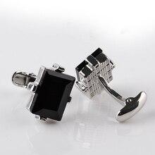 Современный дизайн большие запонки с черными стразами кривая Мужская Свадебная рубашка медь французский запонки