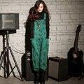 Primavera Verão 2016 nova Mulheres Plus Size Casuais Solta Macacão Impressos Cintas Macacão Perna Larga Macacão Rosa/Verde/azul W531
