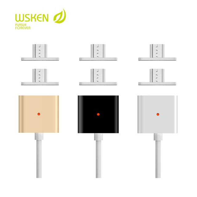 Original wsken magnético cabo com micro usb para usb. para samsung xiaomi htc nokia, 100 centímetros telefone cabo. tira ouro negro.