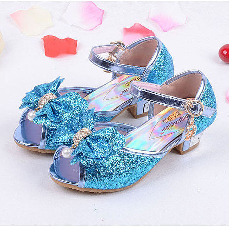 2018 Children new fashion high heels sandals princess style party prom shoes for girls high quality non-slip buckle sandals