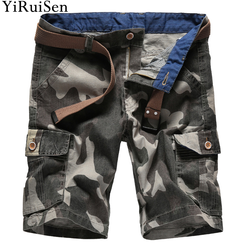 2018 New Casual Shorts Men 100% Cotton Military Print Short Pants YiRuiSen Brand Summer Clothing For Man #a015