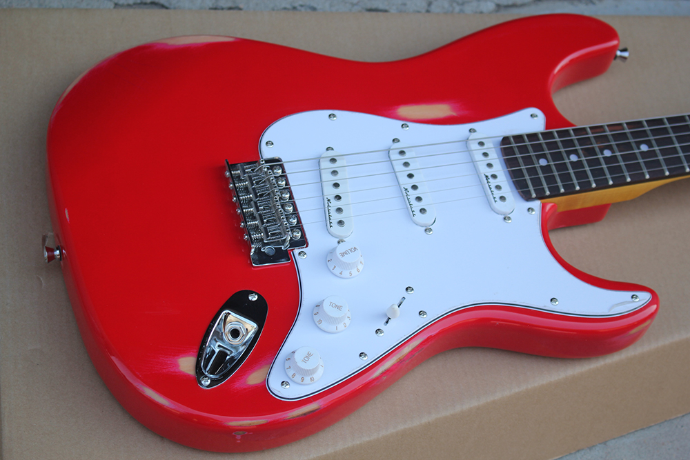 Antique red body electric guitar with White Pickguard, 3 S pickup, yellow neck, chrome hardware, custom made, free delivery.
