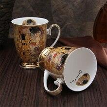 Kreative geschenk elegante goldene seite ölgemälde farbige zeichnung keramik bone china kaffee milch tee tasse große kapazität liebhaber becher