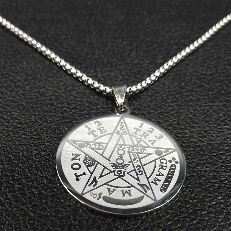 2020 moda czary Pentagram łańcuch naszyjnik ze stali nierdzewnej dla mężczyzn srebrny kolorowy naszyjnik biżuteria collier homme N1163S02