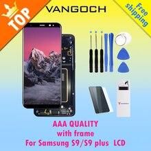 100% Asli Super AMOLED Layar LCD untuk Samsung Galaksi S9 S9 Plus S9 + Tampilan G9650 dengan Bingkai Assembly Penggantian & Bebas Hadiah