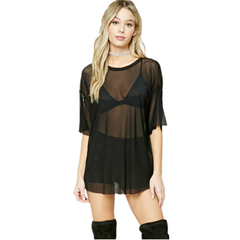 2017 Summer New Europe Sexy Net Yarn Perspective T-shirts fos
