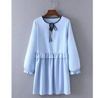 Straight Ruffle Autumn Dress Fashion Light Blue Elegant Dress Vestidos Drawstring O Neck Long Sleeve Sweet