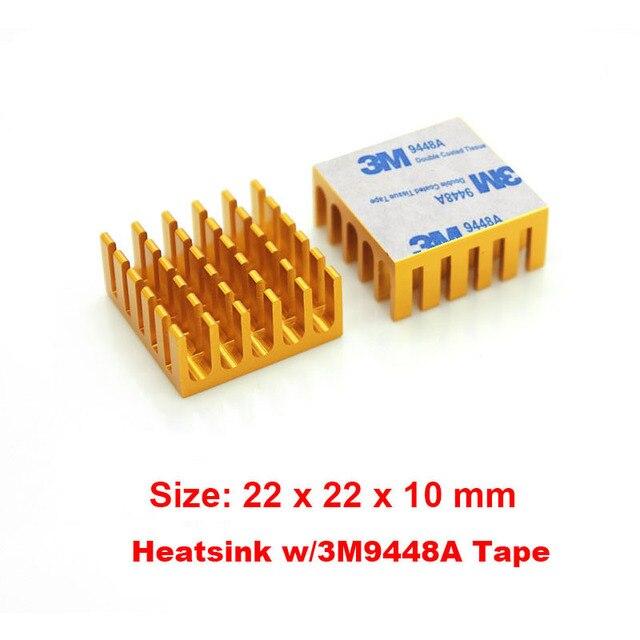 22x22x10mm Aluminium Heat Sink Gold