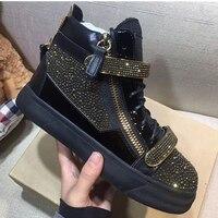 Роскошные Caystal Для мужчин кроссовки черный взлетно посадочной полосы с высоким берцем на шнуровке Повседневная обувь Большие размеры 38–46 Д