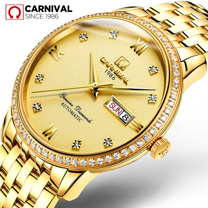 CARNIVAL Watch men Mechanical Watches Waterproof relogio masculino Automatic Movement Date Week Stainless Steel Watches Clock relojes full stainless steel men s sprot watch black and white face vx42 movement