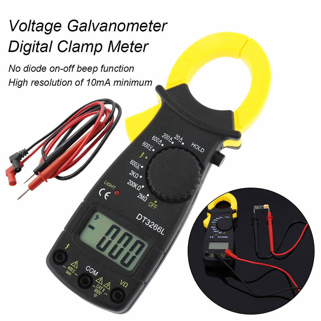 600A AC/DC Multimeter Current Clamp Pincers Digital Clamp Meter Voltmeter Ammeter Ohm Current Voltage Tester DT-3266L
