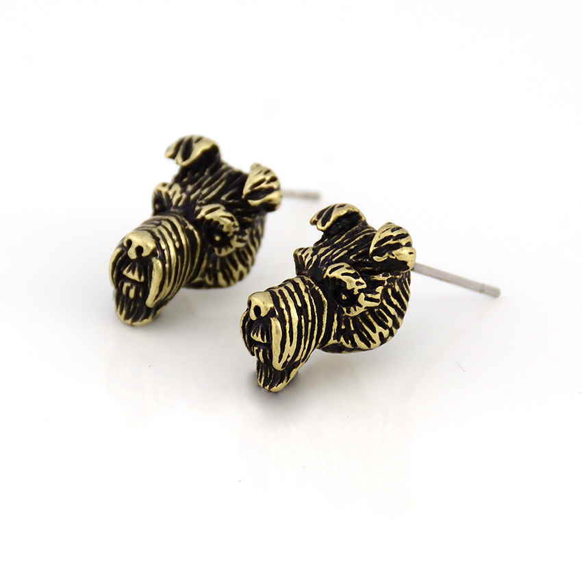 Vintage Punk Airedale Terrier Dog Stud Earring Dogs Brincos Love Earrings For Women Men Jewelry Black Friday Deal Christmas Gift