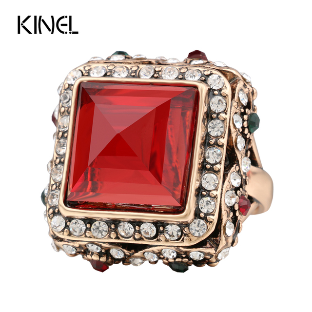 kinel Charm Big Ring Vintage Jewelry Color Ancient Gold Luxury Crystal Rings For