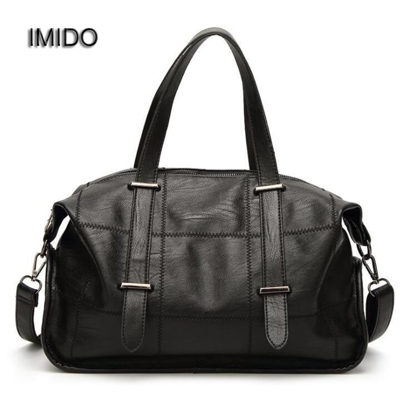 цена на IMIDO 2018 Brand Women Handbag Luxury Female Bags Soft Leather Large Messenger Bag Woman Tote bolsa Dollar Price Grey Red HDG042
