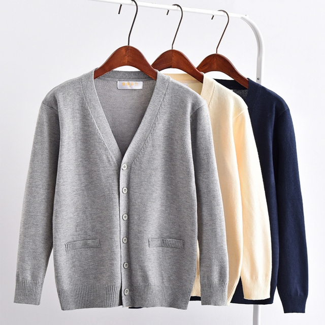 a0db38e480a UPHYD Long Sleeve Pure Color School Girls Cardigan Tops Uniform V-neck  Sweater S-3XL Plus Size