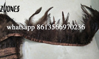 10 m Brown Rooster Hackle Feather Trims 4-6inches/10-15cm Feathers Ribbon For DIY Decoration