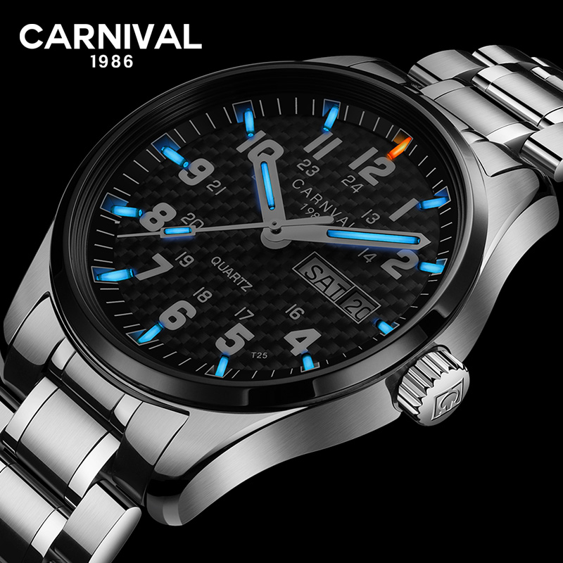 CARNIVAL Tritium Luminous Watch Men Military Stainless Steel Black Carbon Fiber Dial Date Week Display Quartz Waterproof Watches