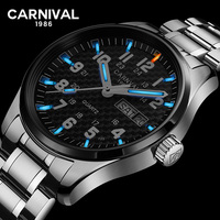 Carnaval tritio luminoso hombres reloj militar de acero inoxidable fibra de carbono negro dial día fecha display de cuarzo relojes impermeables
