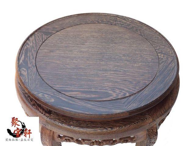 Asas de frango mogno esculpido base circular de madeira maciça esculpida Buda de pedra flowerpot vaso de artesanato artigos de decoração
