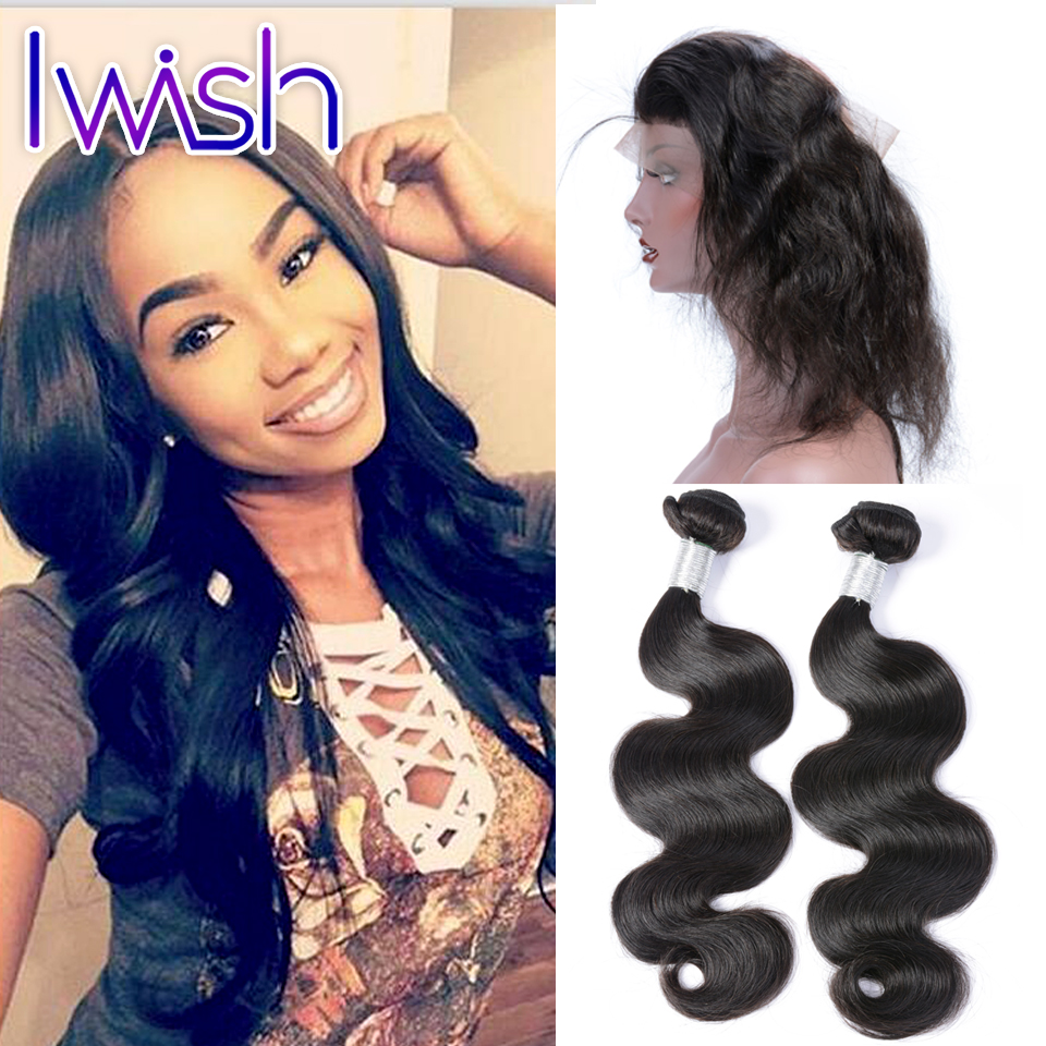 ФОТО 360 Lace Frontal Closure With 2 Bundles Peruvian Body Wave Hair Baby Hair Preplucked Natural Hairline Peruvian Iwish Human Hair