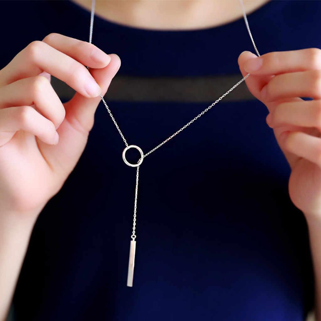 Modny naszyjnik kobiety złoto srebro Trendy biżuteria miedź Choker wielowarstwowe naszyjniki wisiorki długi prezent dla kobiet Boho