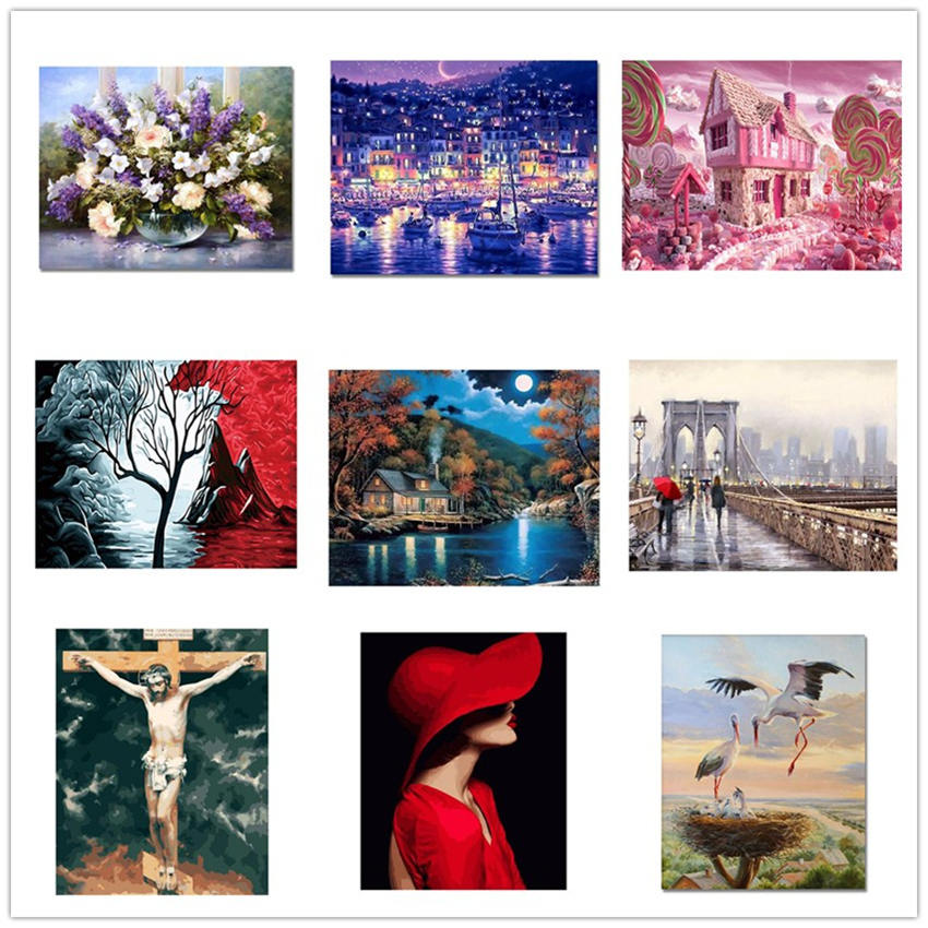 Modern Style Diy Oil Painting By Numbers Wall Art Painting By Numbers Beautiful Woman For Living Room Decor in Painting Calligraphy from Home Garden