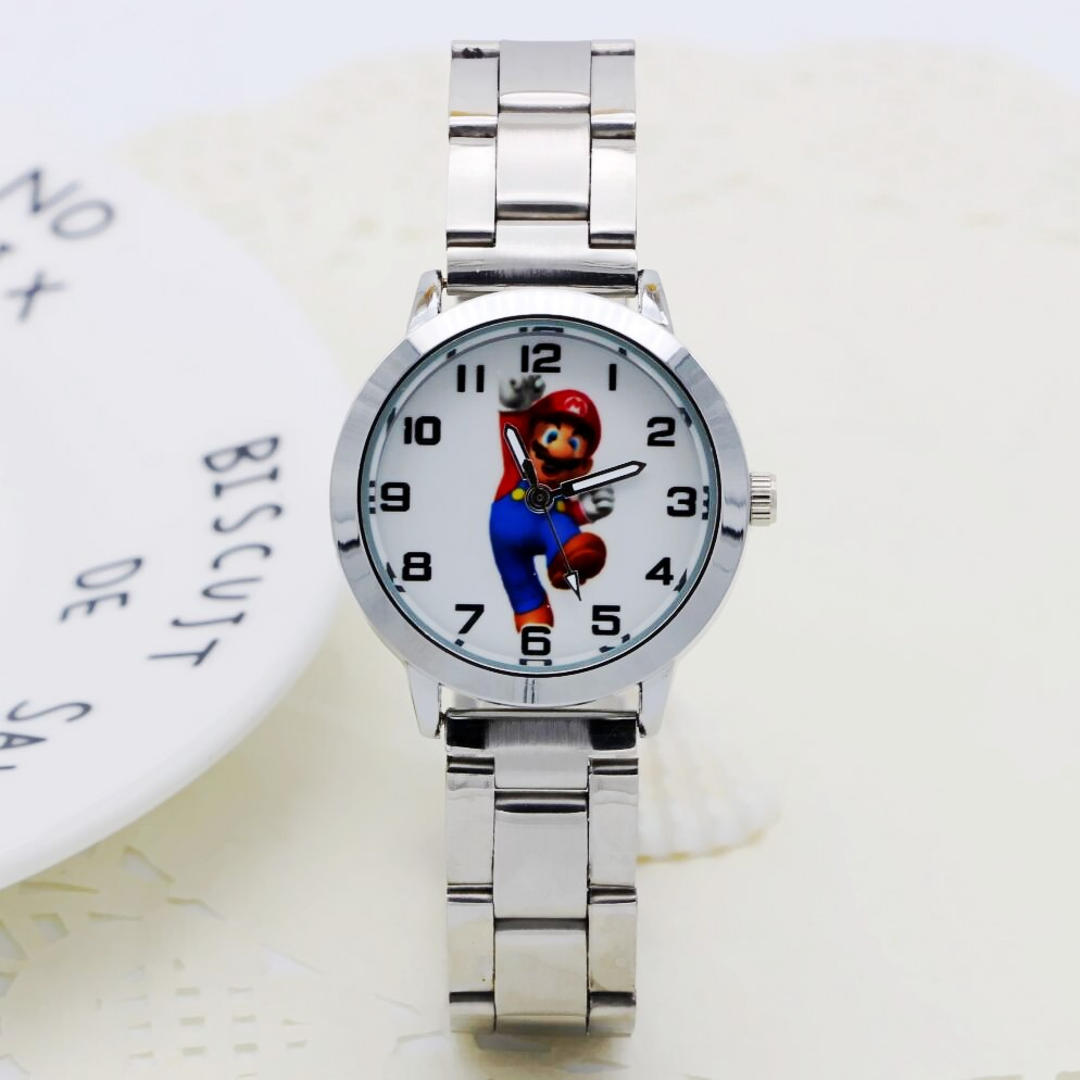 New Fashion Women Stainless Steel Watch Girls Boys Super Mario Quartz Watch Cartoon WristWatches Clock Femininos Montre Femme