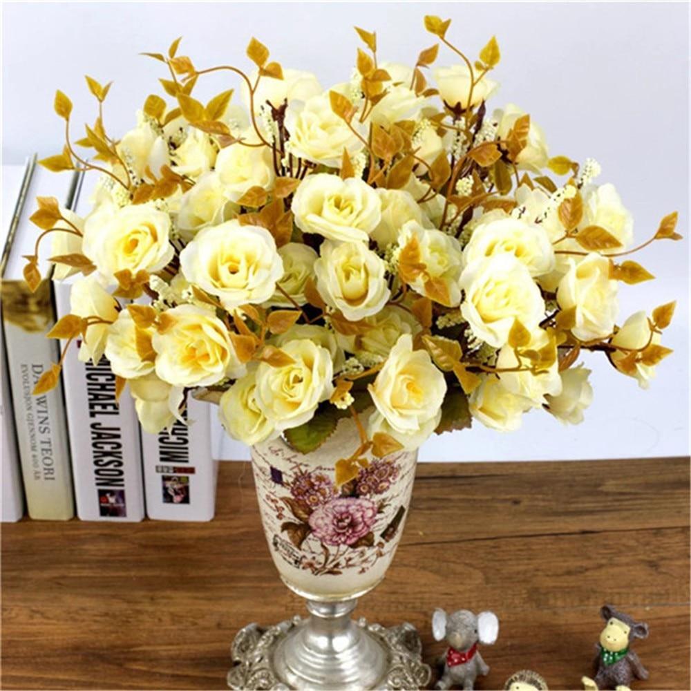 Nett 12 Köpfe Künstliche Rose Silk Blatt Blume Hause Hochzeit Braut Bouquet Europa Dekorative Blumen Weiß Elegant Im Geruch Künstliche Und Getrocknete Blumen