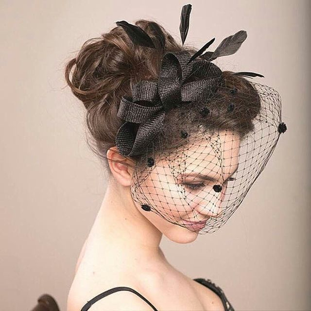 new 2017 western style women feather hats black birdcage veil wedding hats and hairbands white net