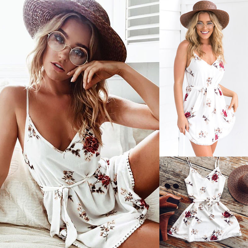 Floral Print Dresses Summer Boho Spaghetti Strap Women Dress White V-neck Tassel Backless Sexy Vestidos 2018 Beach Dress
