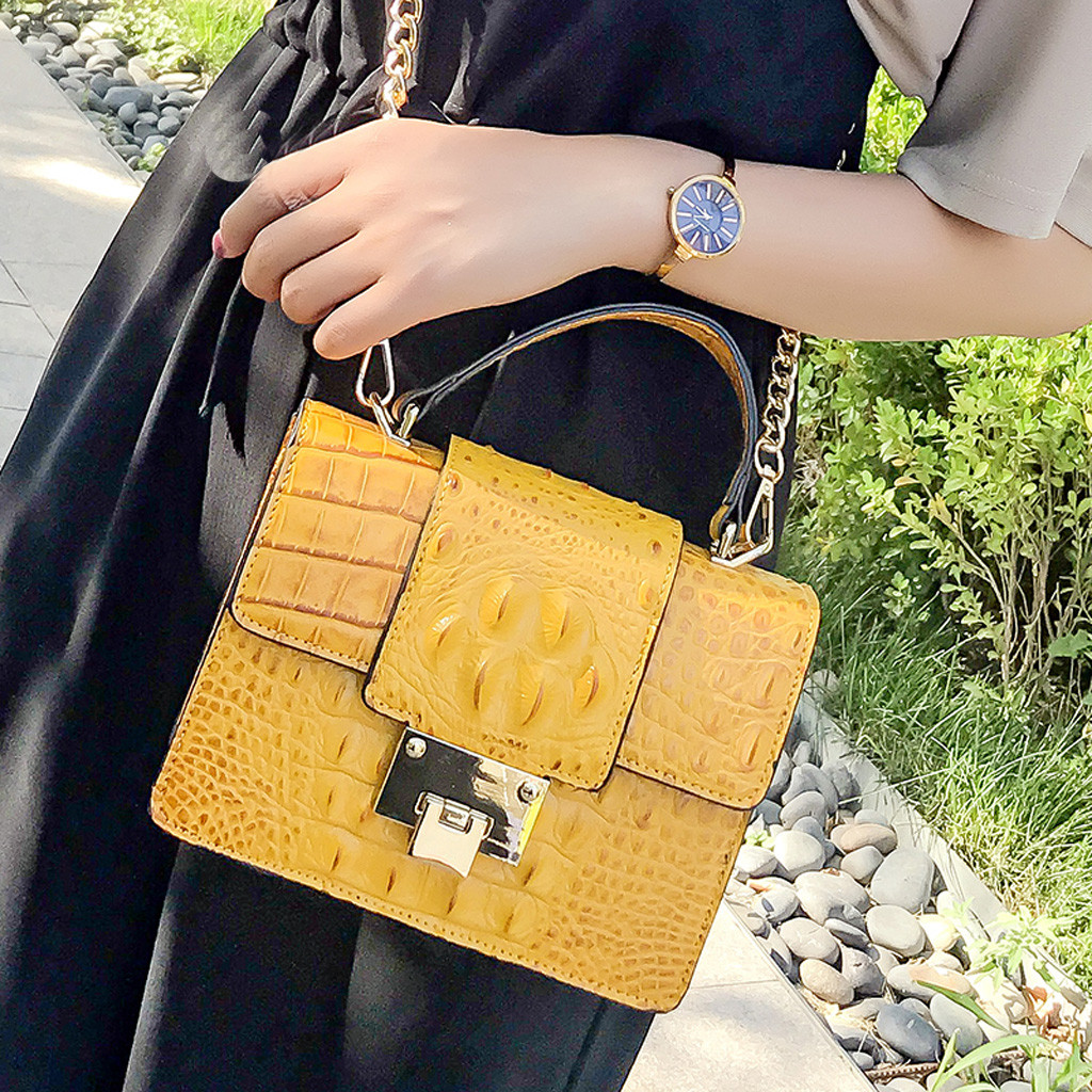 Simple Alligator Crocodile Leather Mini Small Women Crossbody Bag Chain Messenger Shoulder Bag Purse Handbags Bolsas Feminina(China)